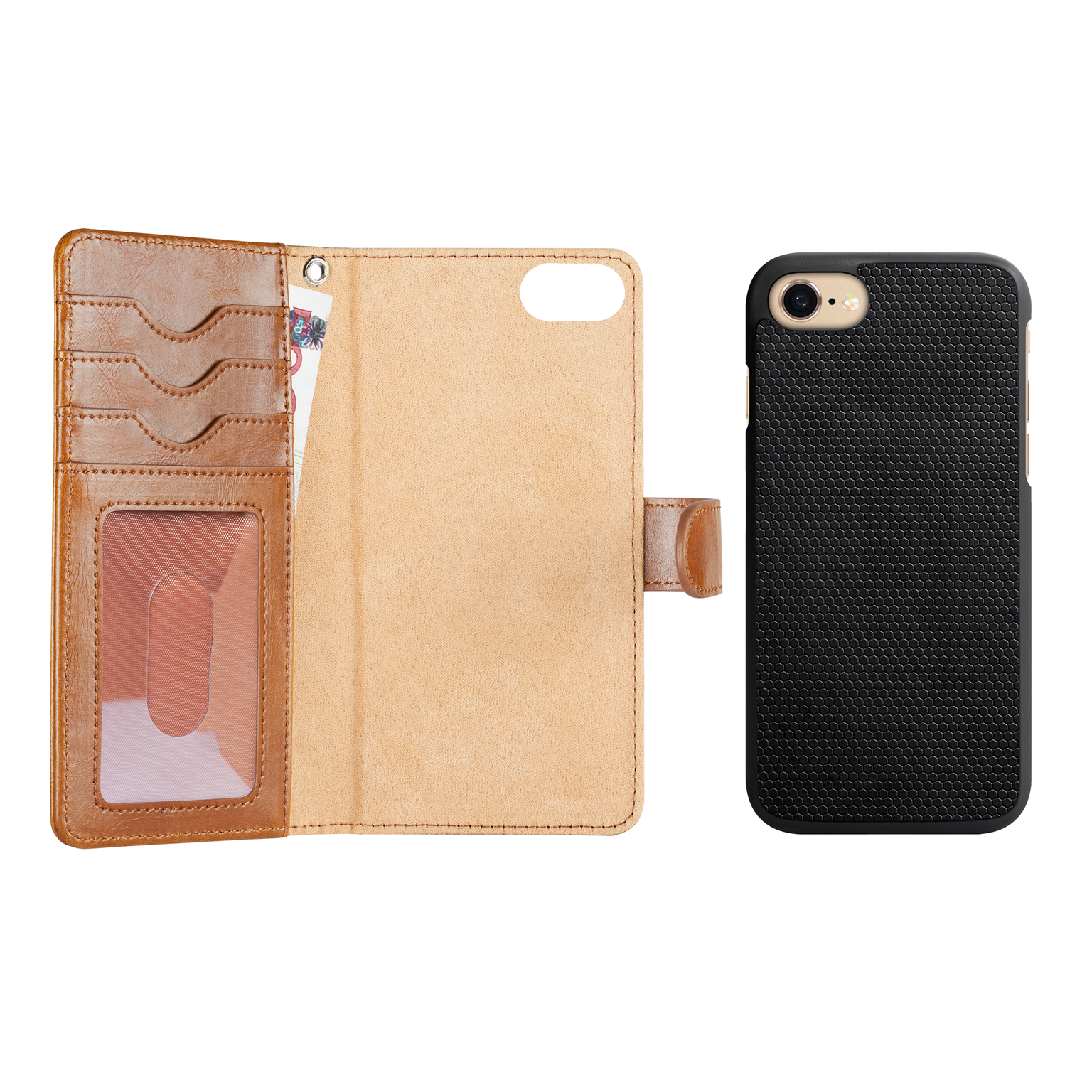 IDeal of Sweden magnet wallet cover med klap til iPhone 8 - 7 & 6/6S i brun med kreditkortholder