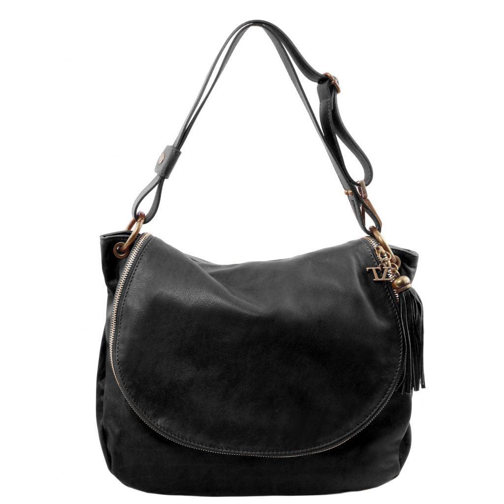Tuscany Leather taske Blød læder skulder taske med kvast detaljer i farven sort