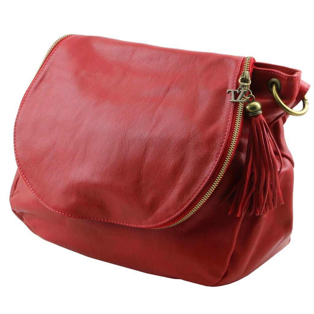 Tuscany Leather taske Blød læder skulder taske med kvast detaljer i farven rød