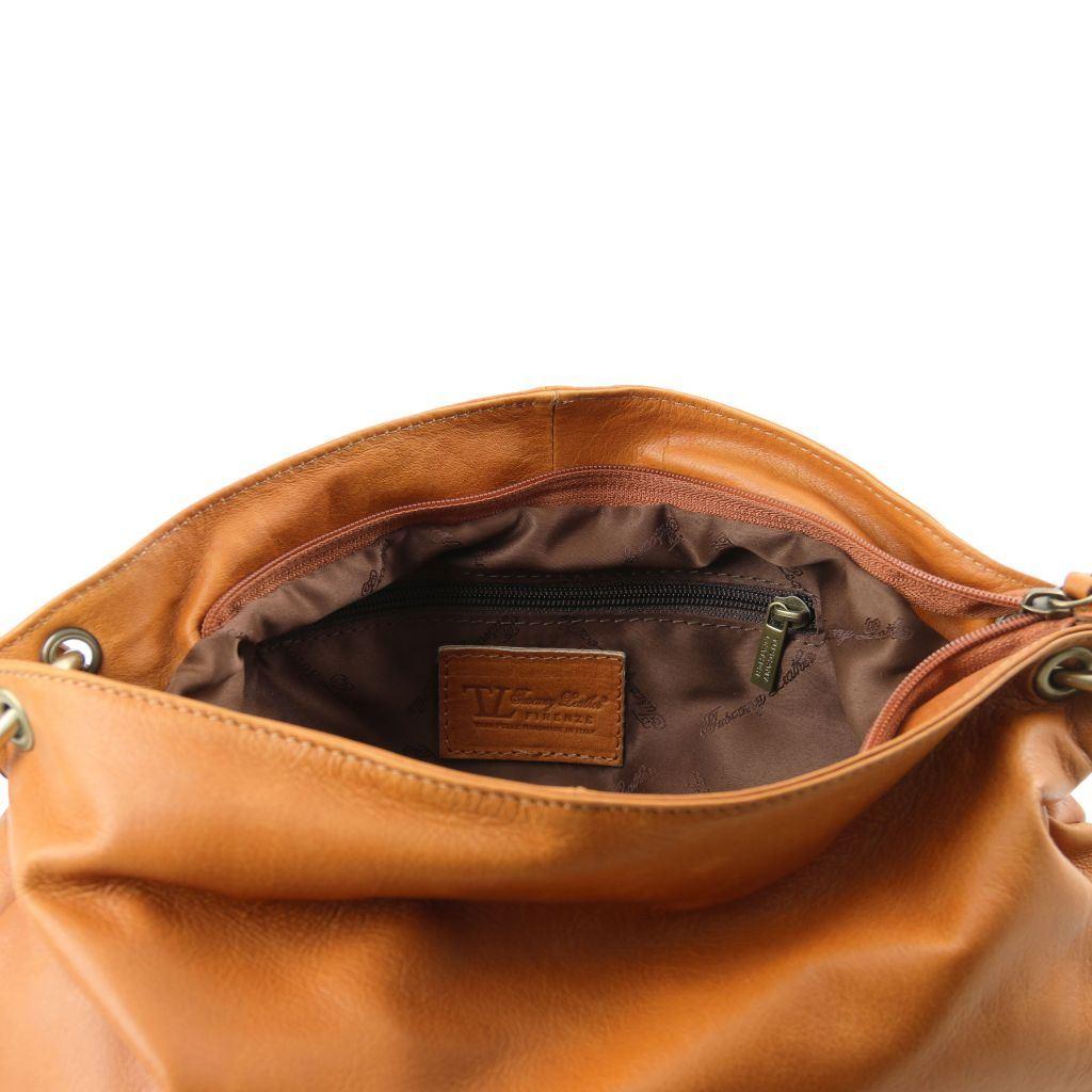 Tuscany Leather taske Blød læder skulder taske med kvast detaljer i farven Cognac