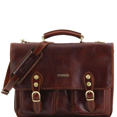 "Tuscany Leather 14"" Modena herre computertaske - Læder briefcase med 2 rum i farven brun"