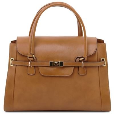Tuscany Leather NeoClassic - Lady læder håndtaske with twist lock i farven Dark Taupe