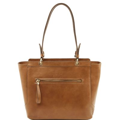 Tuscany Leather NeoClassic - Læder tote with two handles i farven Dark Taupe