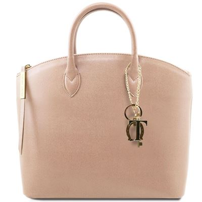 Tuscany Leather KeyLuck - Saffiano Læder tote i farven Beige