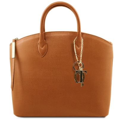 Tuscany Leather KeyLuck - Saffiano Læder tote i farven Cognac