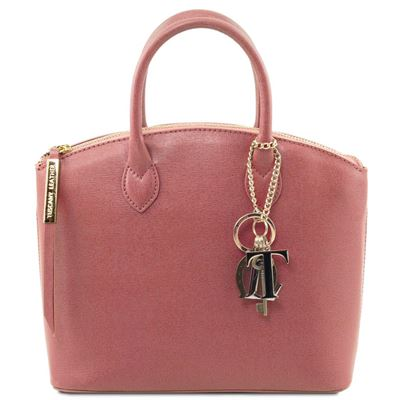 Tuscany Leather KeyLuck - Saffiano Læder tote - Model lille i farven Dusty Rose