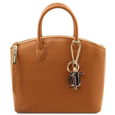 Tuscany Leather KeyLuck - Saffiano Læder tote - Model lille i farven Cognac