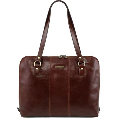 "Tuscany Leather 16"" Ravenna - Eksklusiv lady business taske i farven brun"