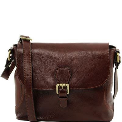 Tuscany Leather Jody - Læder skuldertaske with flap i farven brun