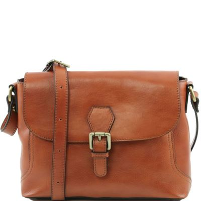 Tuscany Leather Jody - Læder skuldertaske with flap i farven lyse brun