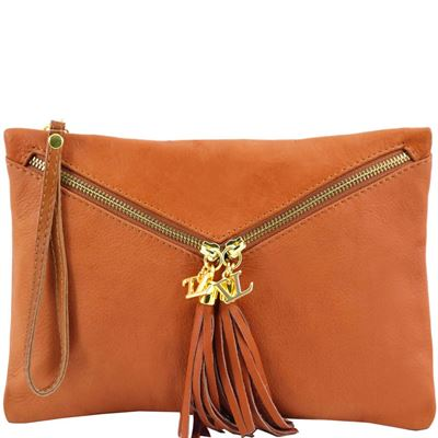 Tuscany Leather Audrey - Læder clutch i farven Cognac