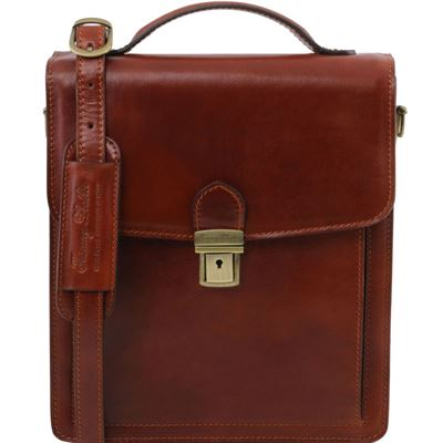 Tuscany Leather David - Læder Crossbody taske - Model stor i farven brun