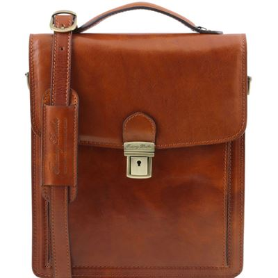 Tuscany Leather David - Læder Crossbody taske - Model stor i farven lyse brun