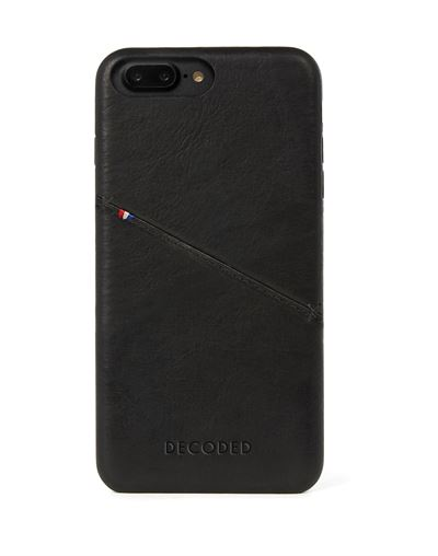 Decoded cover til iPhone 8 Plus bagside cover i sort læder med kreditkortholder