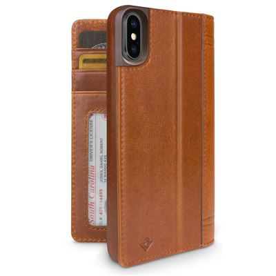 Twelve South Journal læder cover til iPhone Xs max i Cognac læder med kreditkortholder