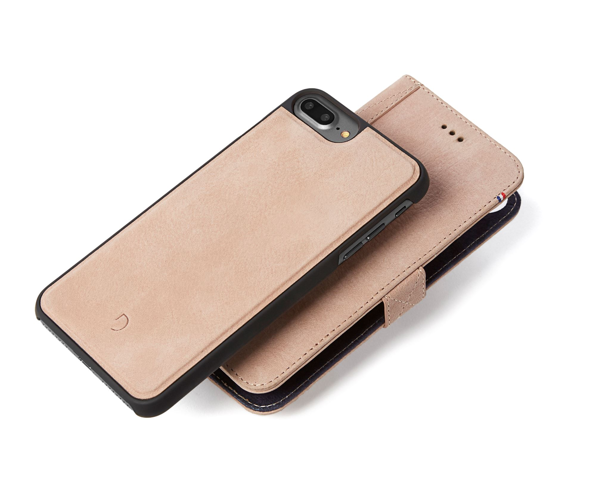 Rose læder cover til iphone 7 plus med kortholder